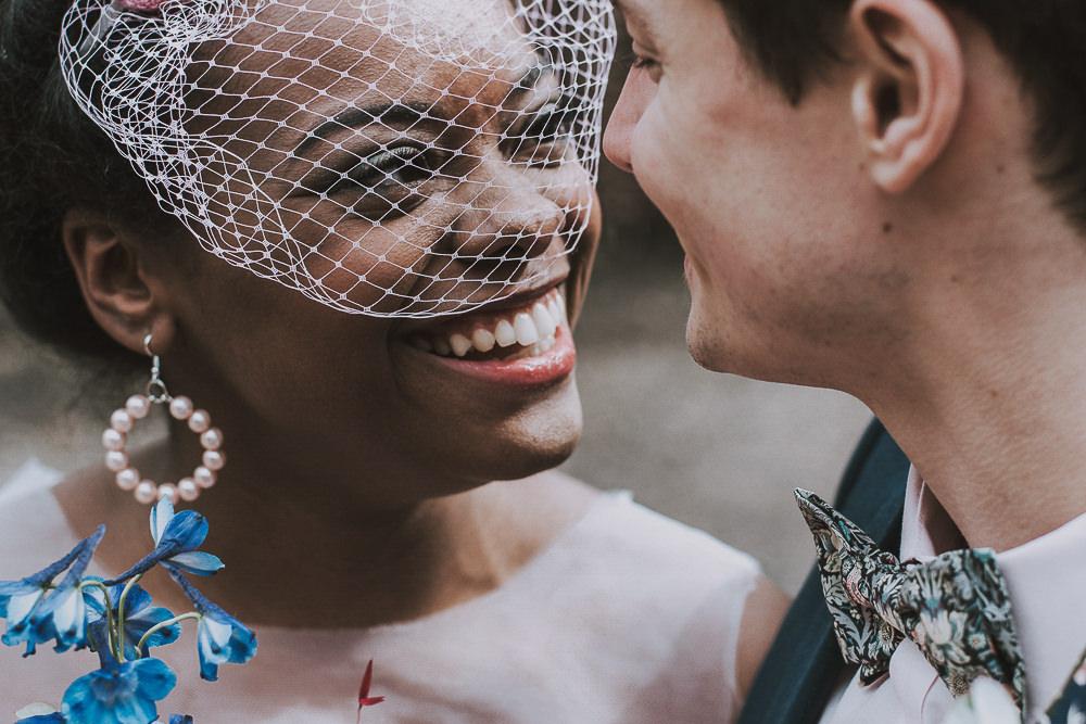 Bride Bridal Birdcage Veil Wes Anderson William Morris Wedding Ideas Jessica Hill Photography