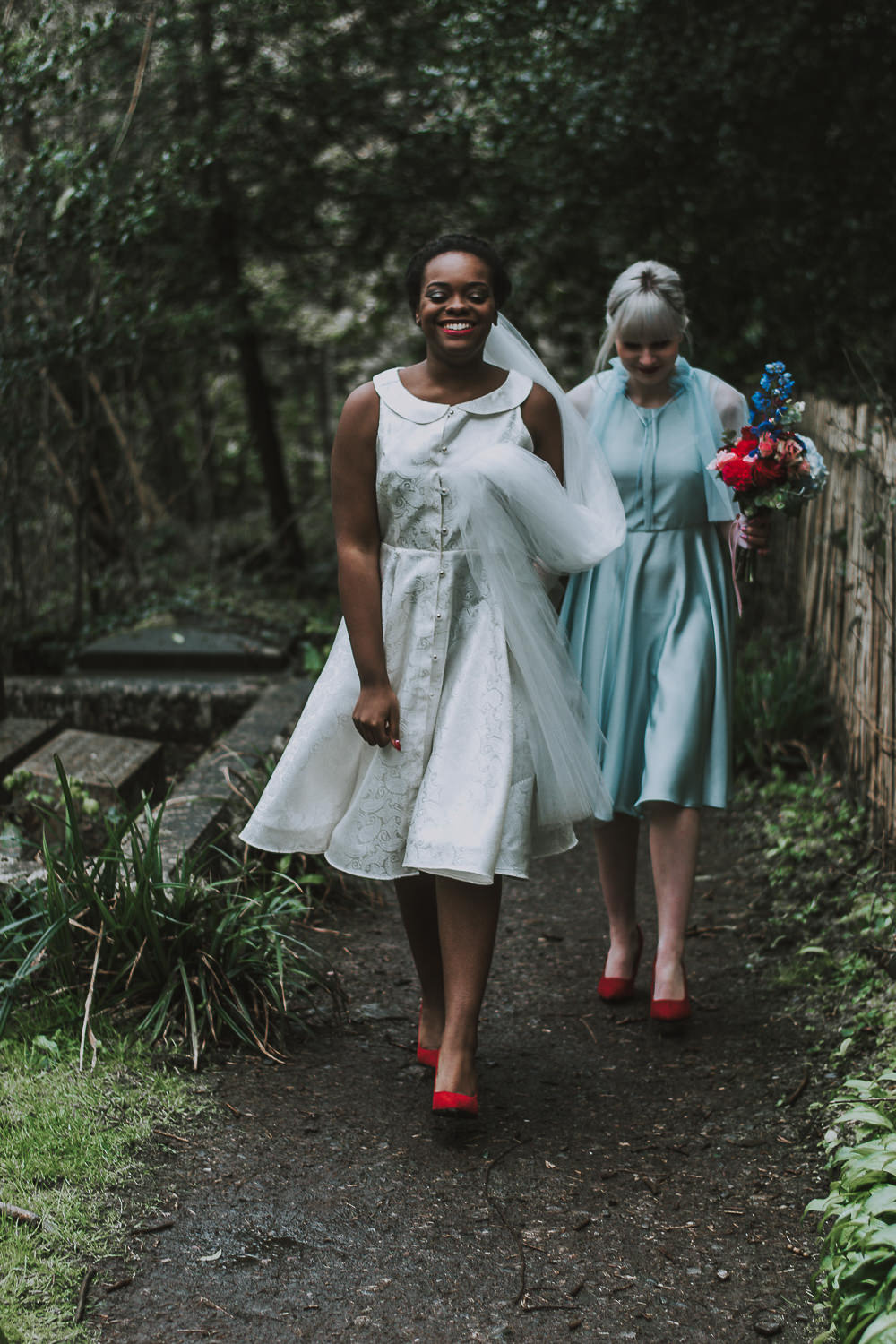 Dress Gown Bride Bridal Short Prom Peter Pan Collar Veil Wes Anderson William Morris Wedding Ideas Jessica Hill Photography