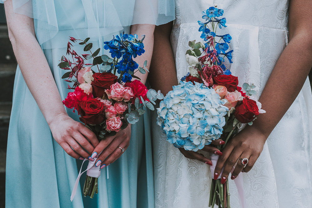 Bride Bridal Bouquet Flowers Pink Blue Red Hydrangea Rose Wes Anderson William Morris Wedding Ideas Jessica Hill Photography