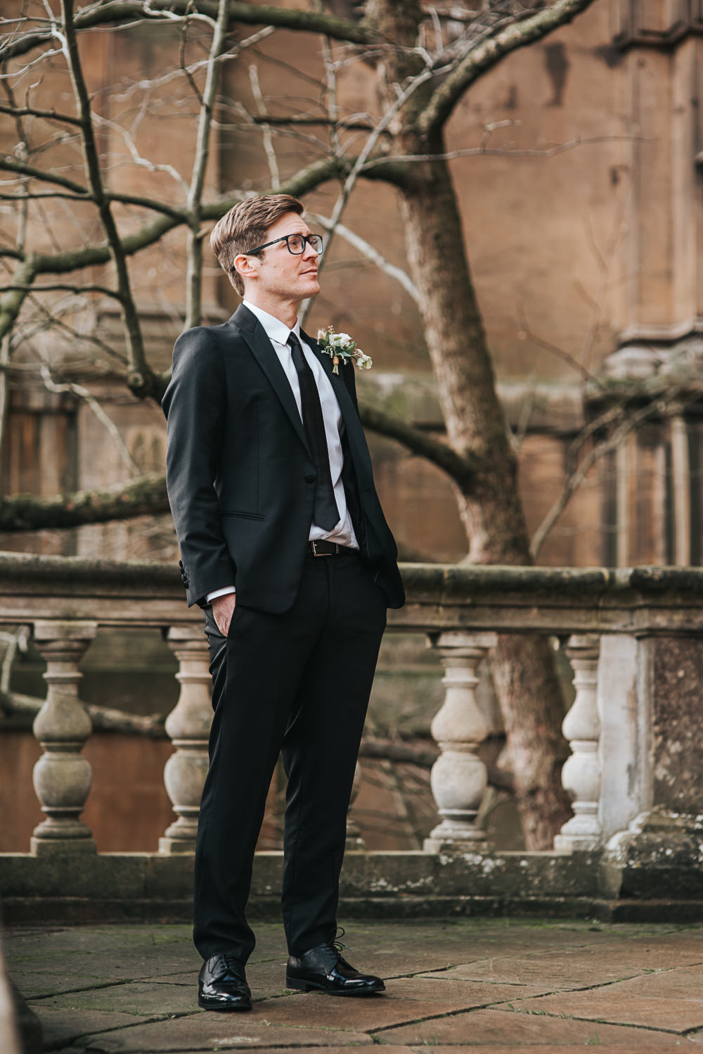 Groom Suit Black Tie Shoes Wollaton Hall Wedding Pear and Bear Photography