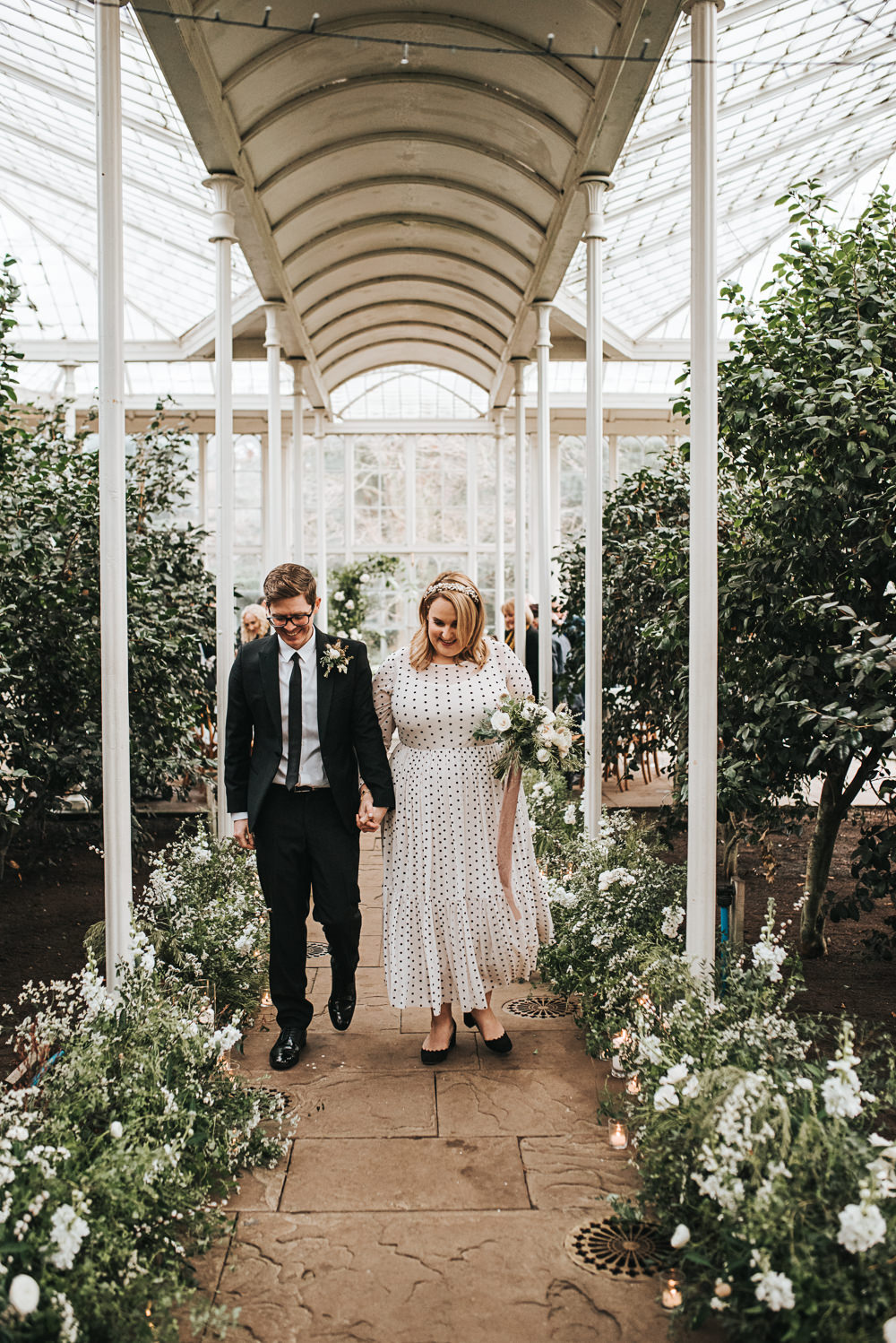 Aisle Flowers Greenery Foliage Meadow Candles Ceremony Wollaton Hall Wedding Pear and Bear Photography
