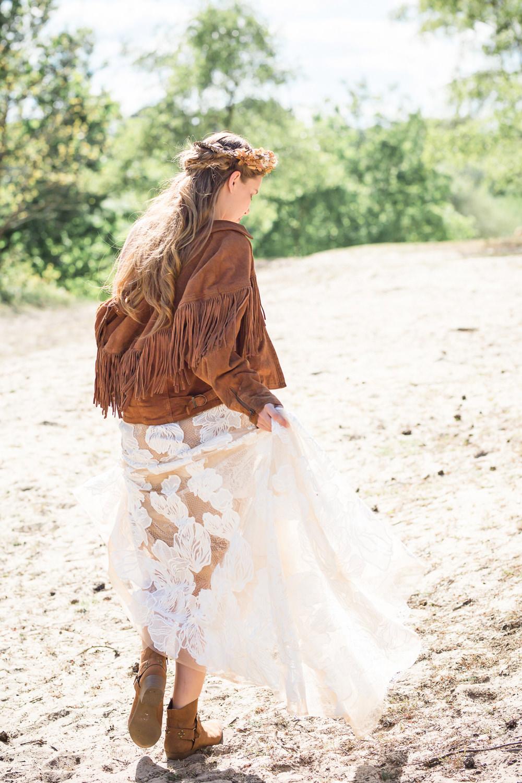 Bride Bridal Dress Gown Lace Underlay Train Floral Tassel Fringe Jacket Boots Boho Beach Wedding Ideas Sarah Hoyle Photography