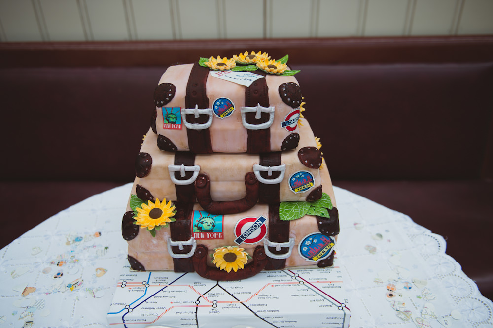 Travel Suitcase Cake Buckinghamshire Railway Centre Wedding Sasha Weddings