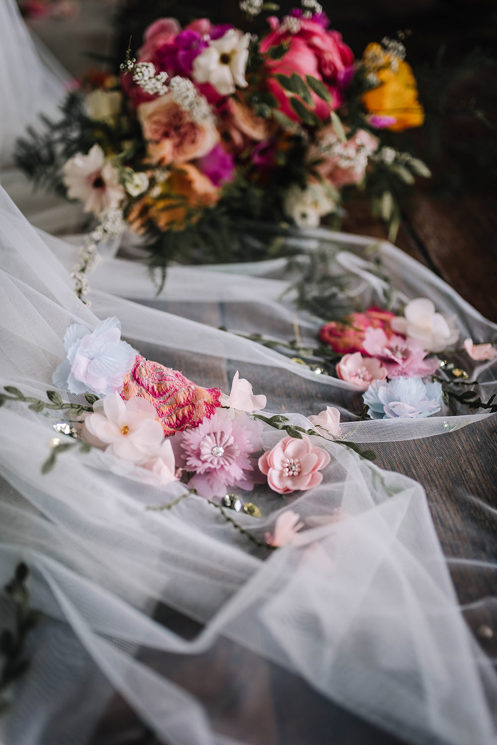 Bride Bridal Veil Embroidered Flowers Coral Floral Wedding Ideas Birgitta Zoutman Photography