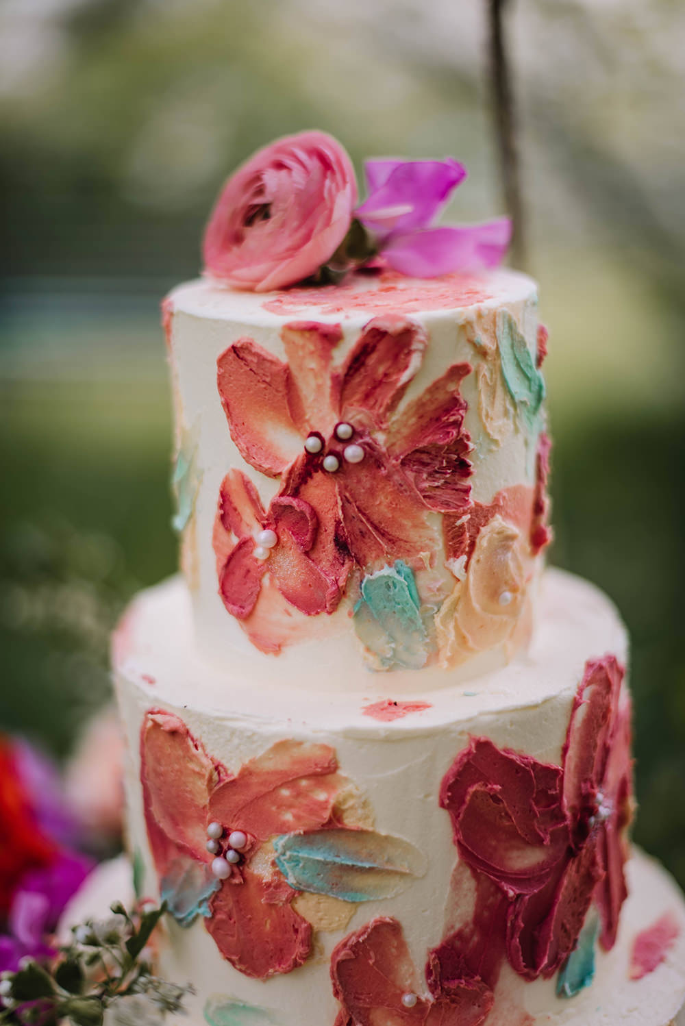 Brush Stroke Palette Artistic Cake Coral Floral Wedding Ideas Birgitta Zoutman Photography