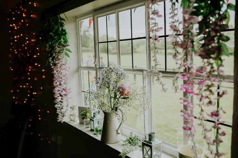 Windowsill Flowers Decor DIY Village Hall Wedding PhotoBart