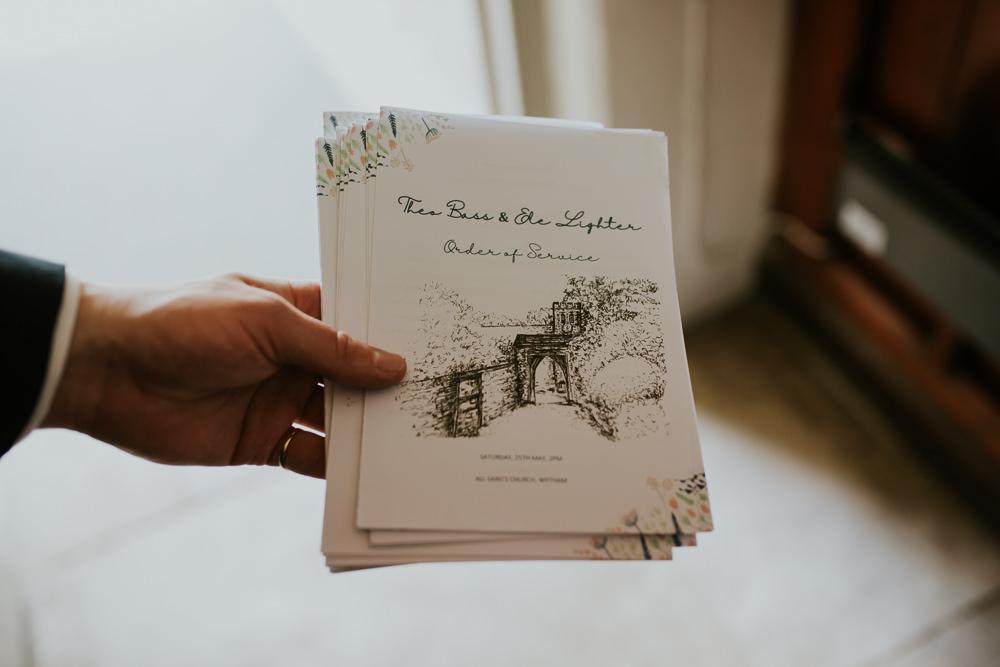 Order of Service Booklet DIY Village Hall Wedding PhotoBart