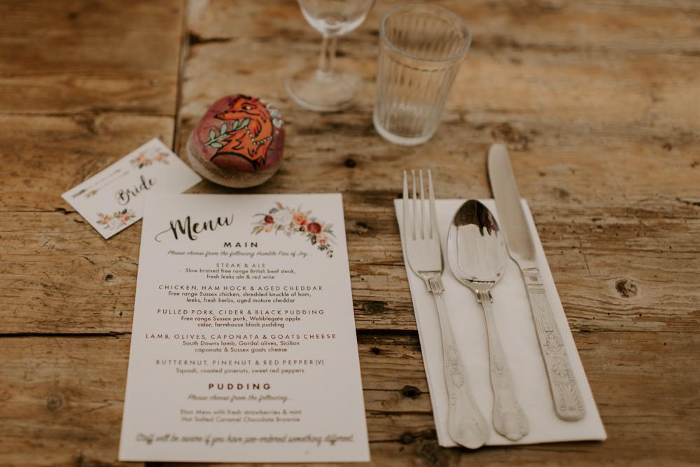 Olace Setting Floral Menu Dreys Wedding Grace & Mitch Photo & Film