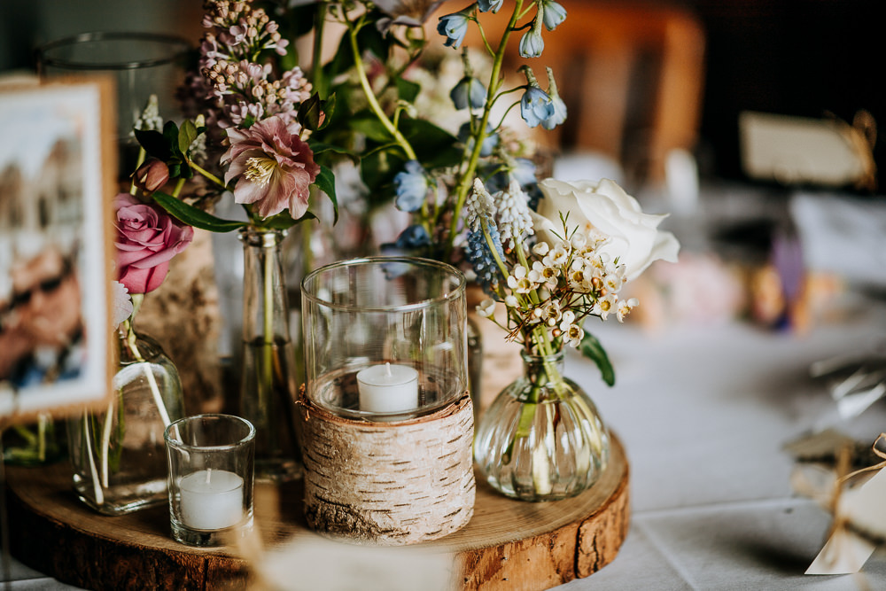 Wood Slice Table Centres Jars Candles Flowers East Riddlesden Hall Wedding M and G Photographic