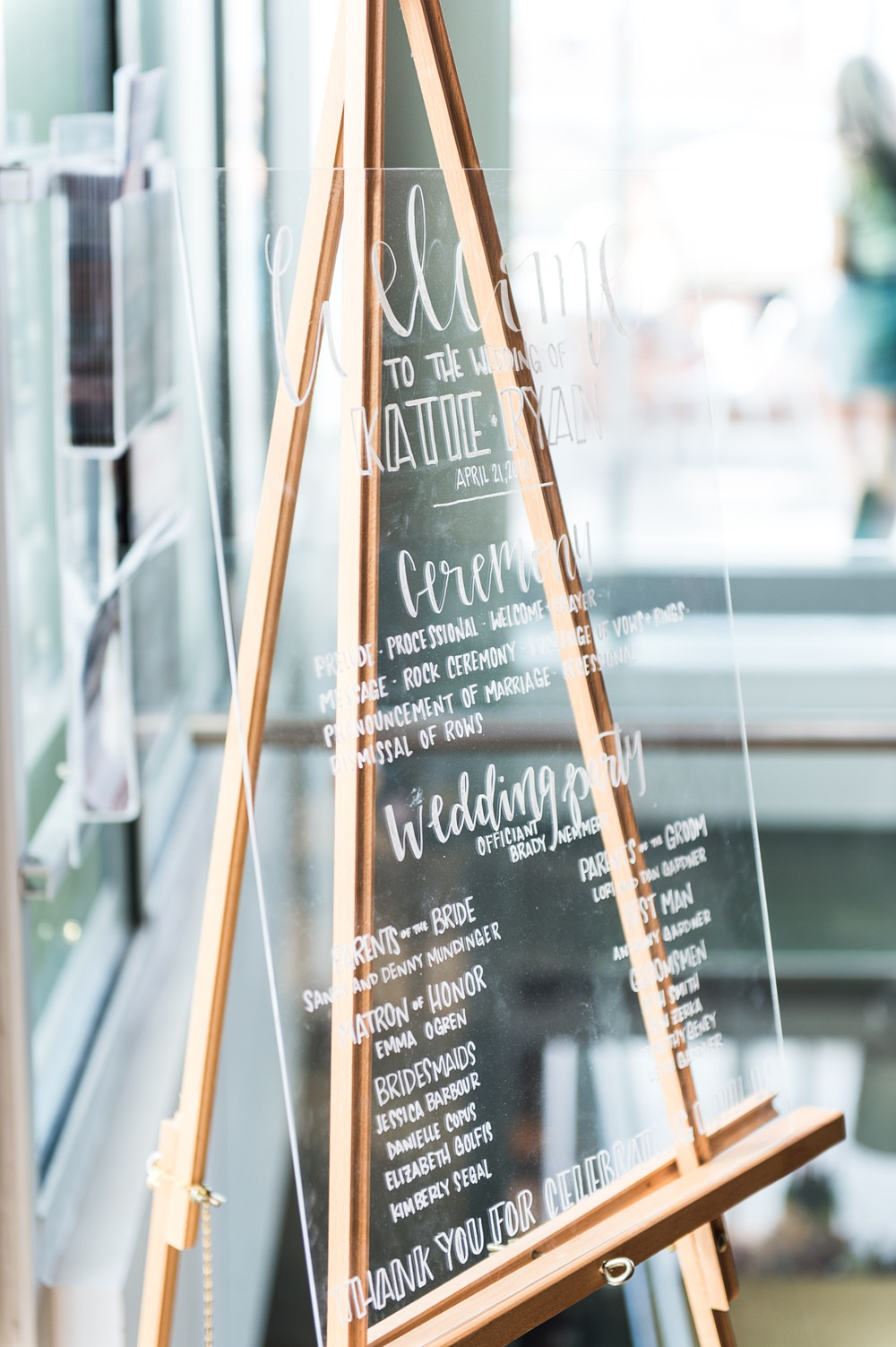 Clear Perspex Acrylic Sign Signage Welcome Greenhouse Michigan Wedding Jean Smith Photography