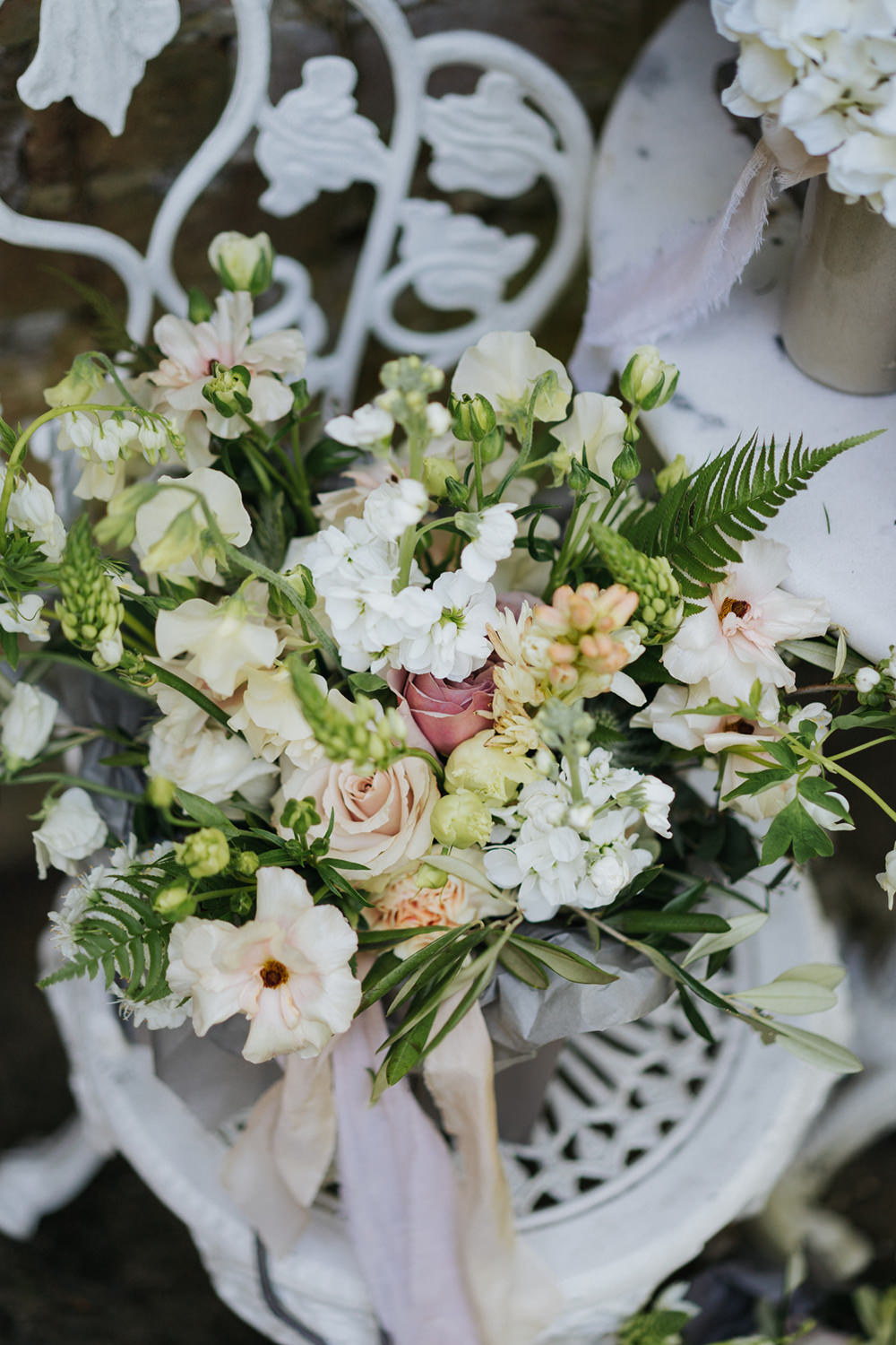 Bouquet Flowers Bride Bridal Wild Natural Dusky Pink Ribbon Peony Stocks Rose Greenery Foliage Greenhouse Wedding Kit Myers Photography