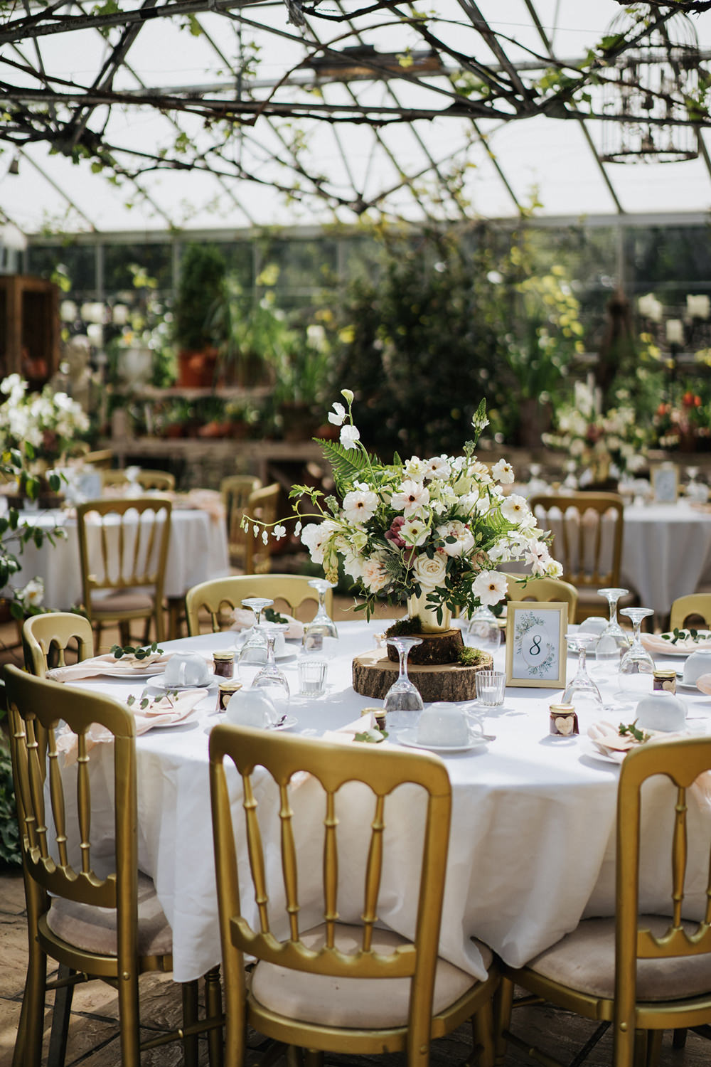 Round Tables Flowers Centrepiece Greenhouse Wedding Kit Myers Photography