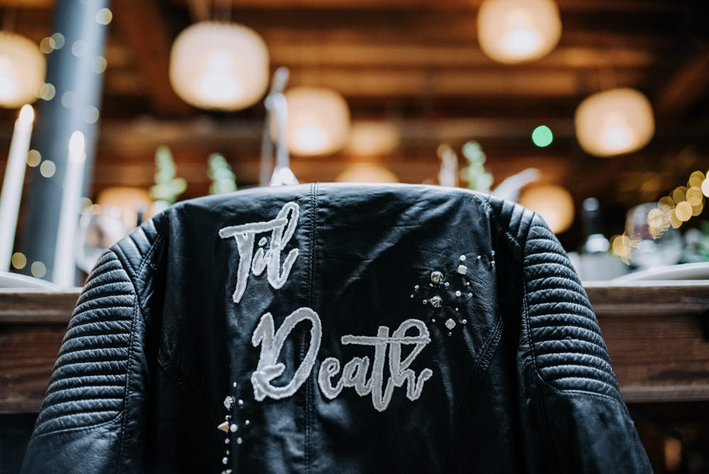 Til Death Leather Jacket Personalised Manchester Wedding Kazooieloki Photography