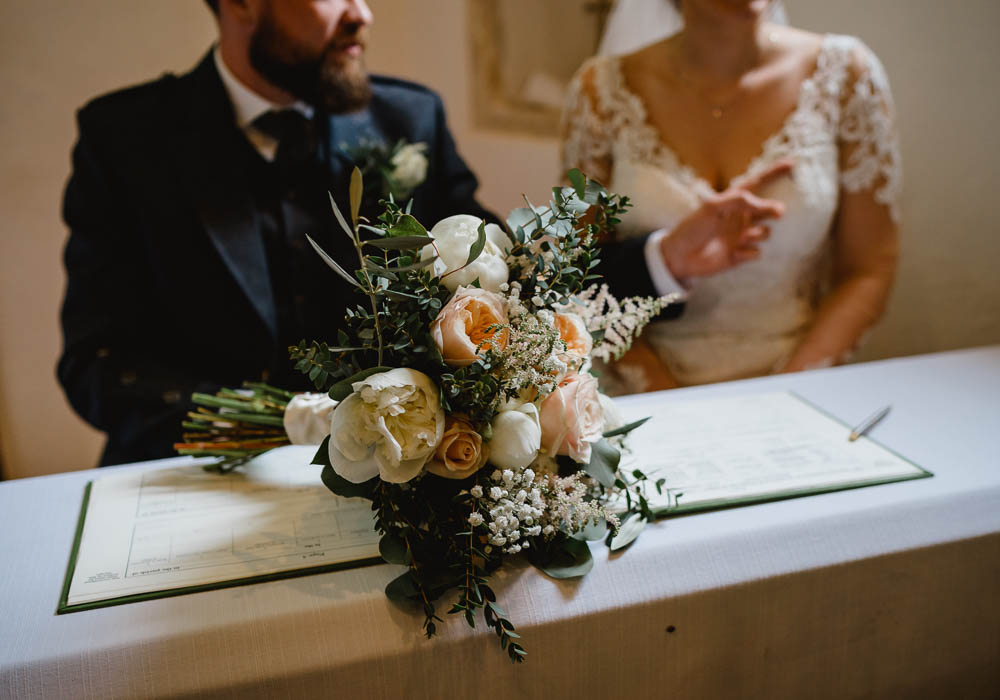 Bouquet Flowers Bride Bridal Peach Cream Peony Rose Oxnead Hall Wedding Luis Holden Photography