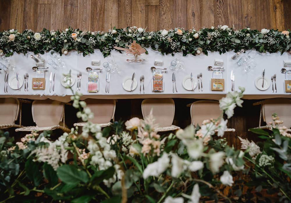 Table Flowers Decor Long Garland Swag Greenery Foliage Top Table Oxnead Hall Wedding Luis Holden Photography