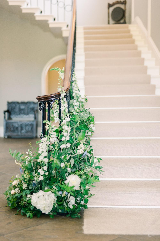 Staircase Stairs Flowers Banister Greenery Foliage Saltmarshe Hall Wedding Jessica Davies Photography