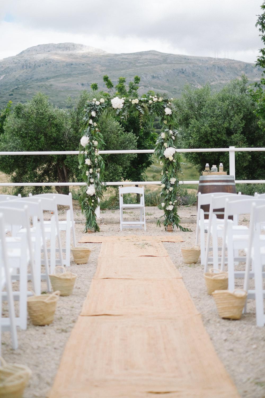 Greenery Foliage Flower Arch Ceremony Aisle Spain Destination Wedding Jesus Caballero Photography