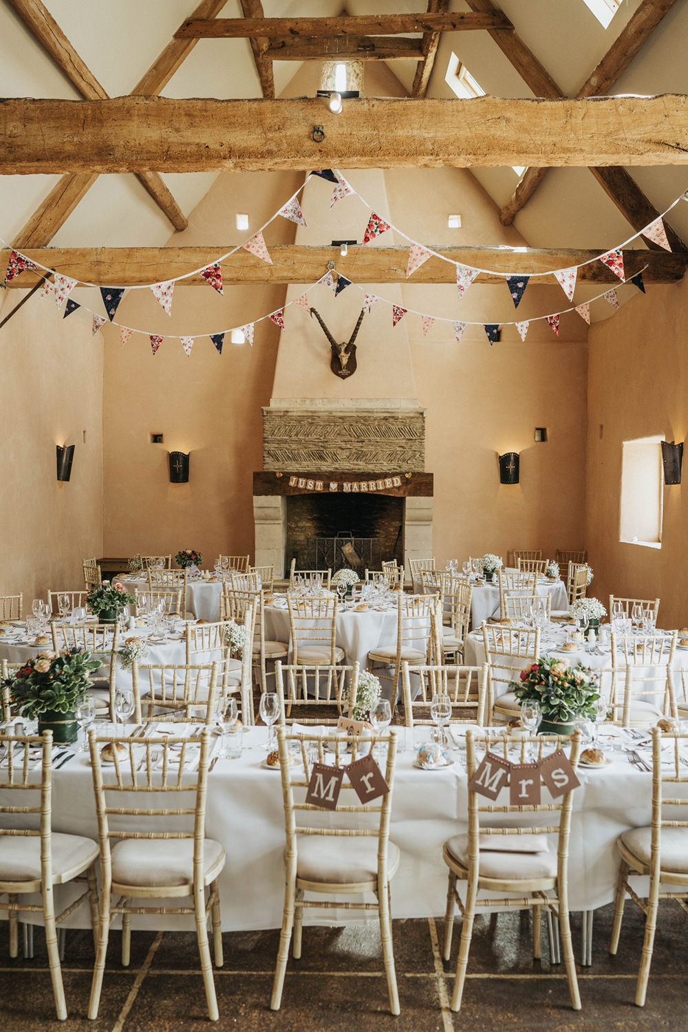 Oxleaze Barn Venue Reception Chairs Fireplace Bunting Round Tables Boho Country Wedding Kit Myers Photography