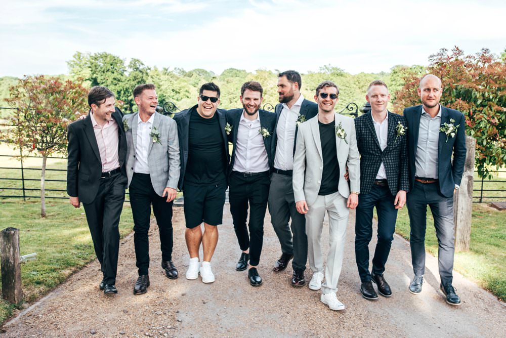 Groom Suit Blue Shirt Open Collar Groomsmen Mismatched Chichester Hall Wedding Three Flowers Photography