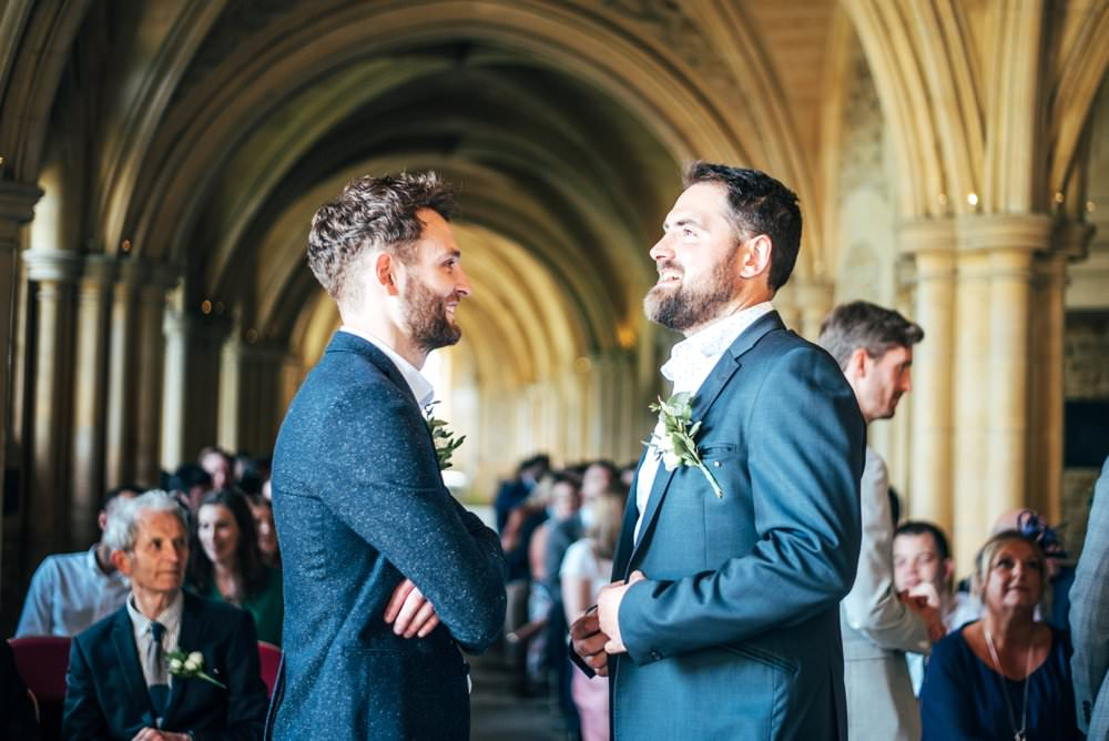 Groom Suit Blue Shirt Open Collar Chichester Hall Wedding Three Flowers Photography
