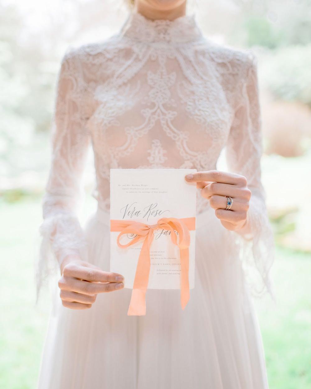 Peach Ribbon Invitation Invite Elegant Wedding Ideas Yll Weddings