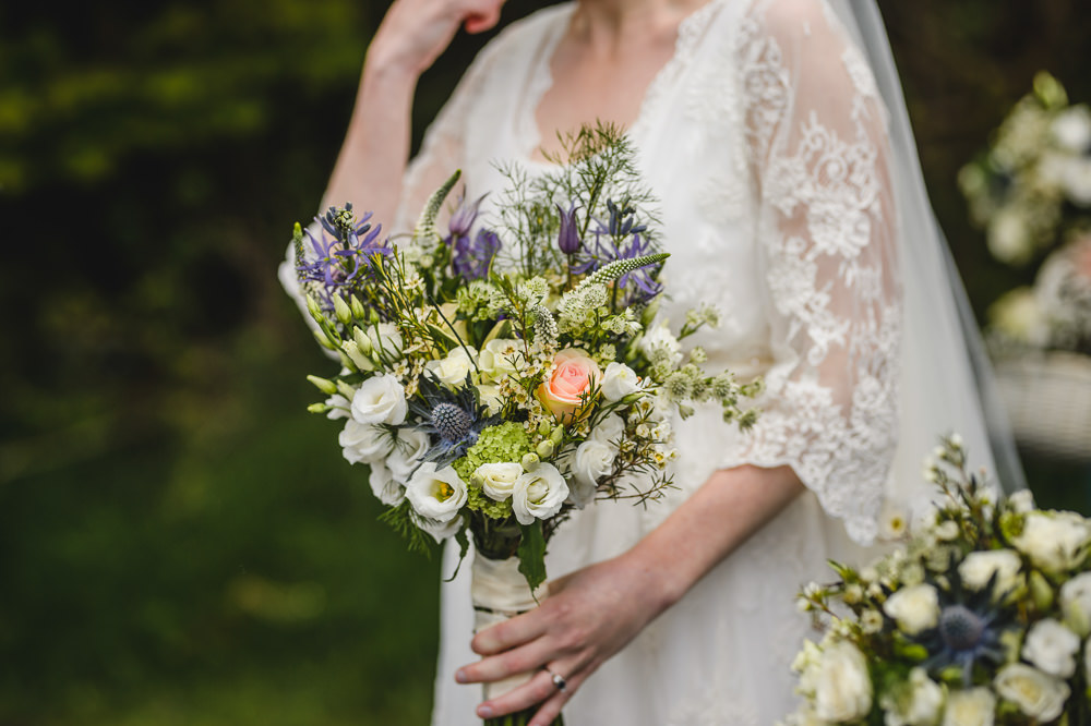 Sea Holly Rose Wax Flower Bouquet Bride Bridal Hargate Hall Wedding Pixies in the Cellar