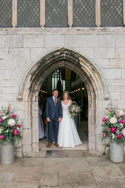 Bride Bridal V Neck A Line Dress Gown Lace Edged Veil Flower Crown Multicoloured Bouquet Tweed Suit Groom Lincolnshire Tipi Wedding Jessy Jones Photography