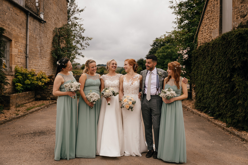 Bride Bridal Lace Embellished Dress Gown Cap Sleeve Halter Neck Sage Green Bridesmaids Mickleton Hills Farm Wedding Jules Barron Photography