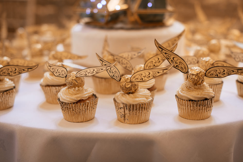 Golden Snitch Cupcakes Harry Potter Mickleton Hills Farm Wedding Jules Barron Photography