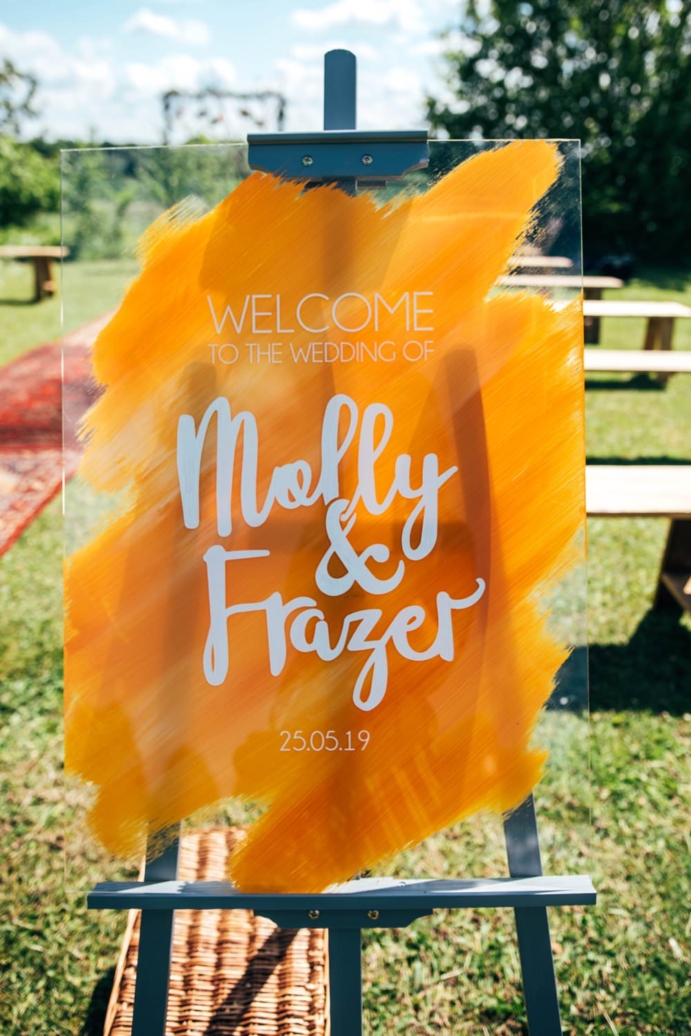 Orange Sign Signs Signage Perspex Acrylic Brush Stroke Art Painted Outdoor DIY Wedding Three Flowers Photography