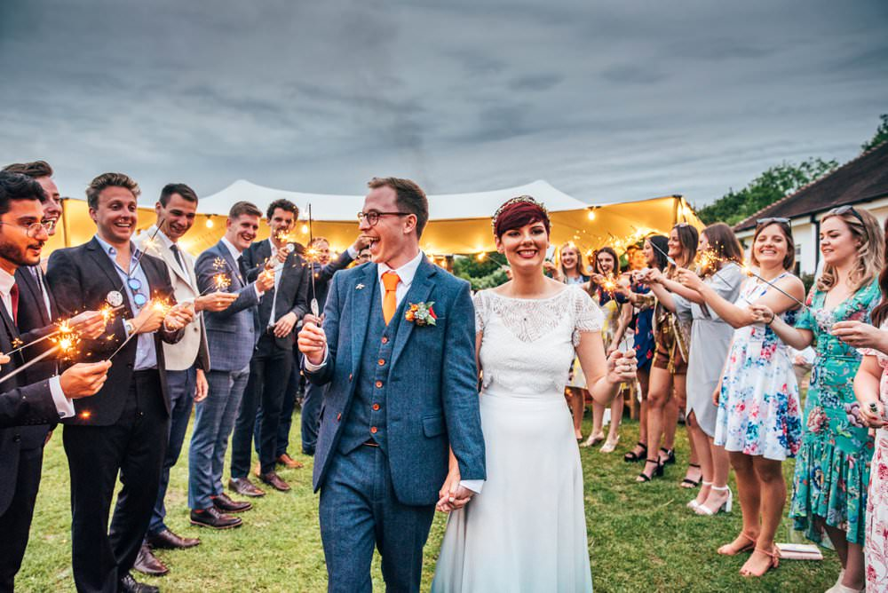 Sparklers Send Off Exit Outdoor DIY Wedding Three Flowers Photography
