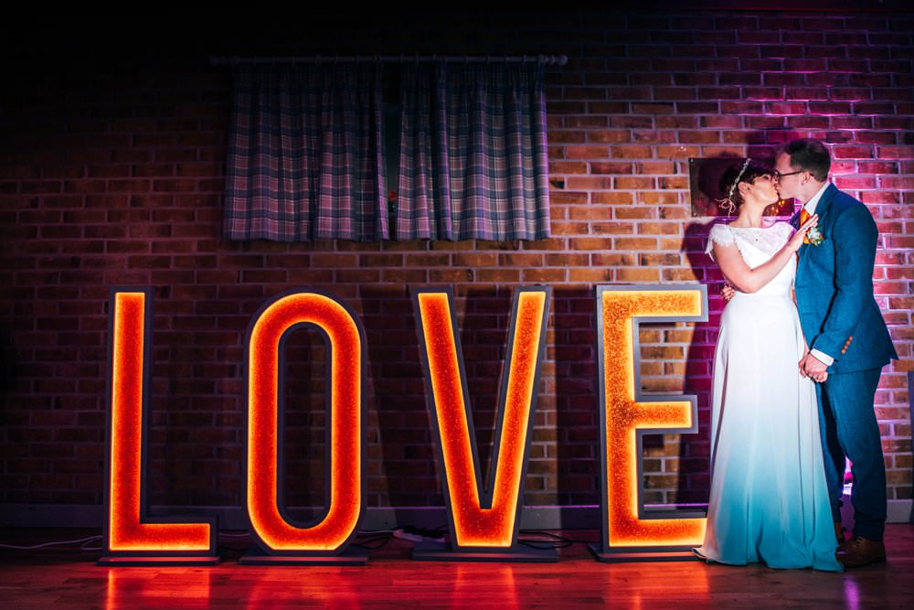 LOVE Letter Lights Outdoor DIY Wedding Three Flowers Photography