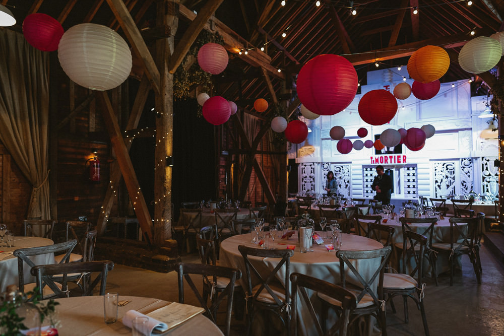 White Pink Red Orange Paper Lanterns Cross Back Chairs Preston Court Wedding The Last Of The Light