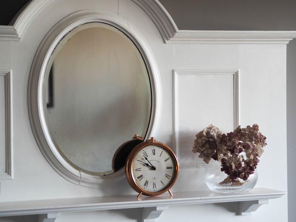 1930s House Living Room Renovation Art Deco Fireplace Mantle Mirror Oval White Log Burner Farrow & Ball Mole's Breath Clock Hydrangeas