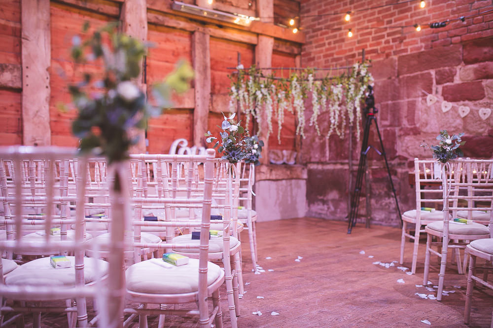 Ceremony Backdrop Flowers Arch Barn Wedding Shropshire Brightwing Photography