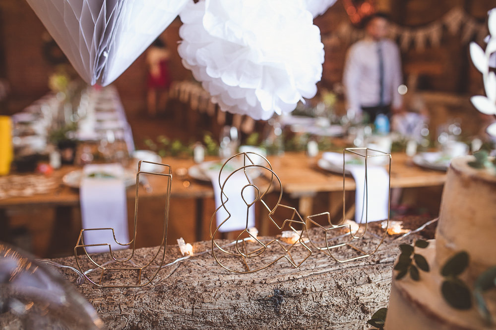 Wire Letters Decor Barn Wedding Shropshire Brightwing Photography