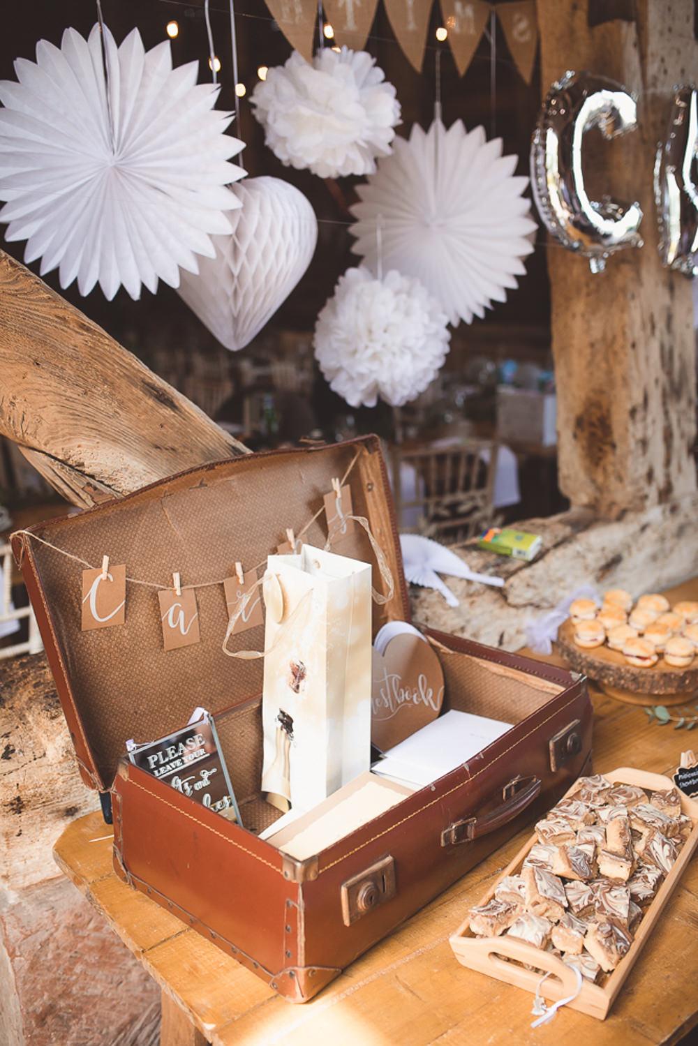 Vintage Suitcase Card Box Barn Wedding Shropshire Brightwing Photography