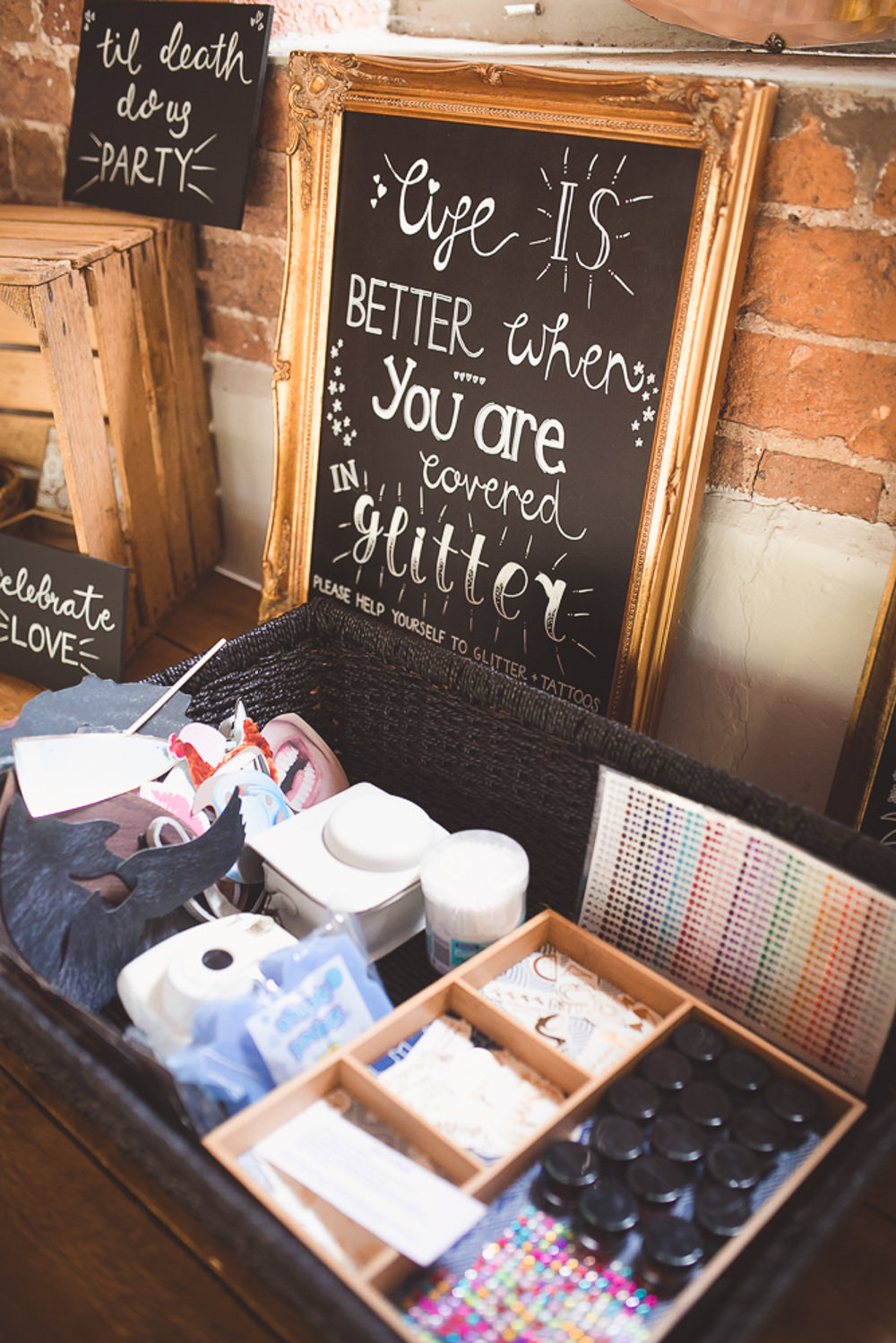 Glitter Station Bar Stand Table Barn Wedding Shropshire Brightwing Photography