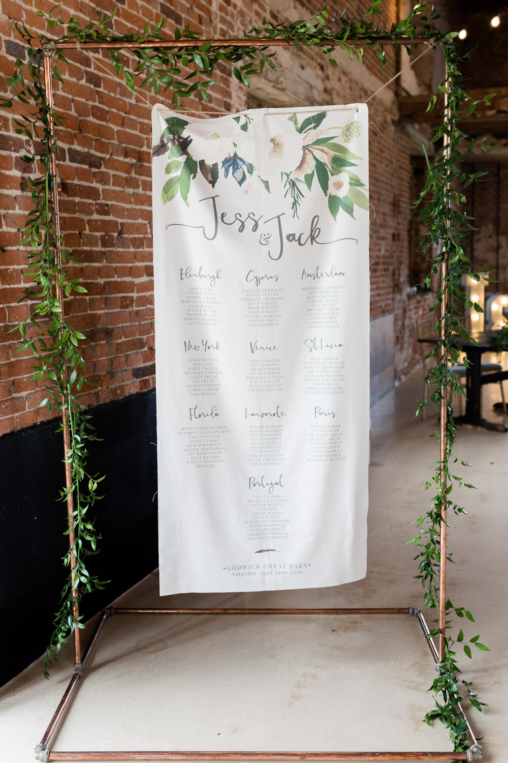 Table Plan Seating Chart Copper Frame Printed Fabric Calligraphy Botanical Barn Wedding Heather Jackson Photography