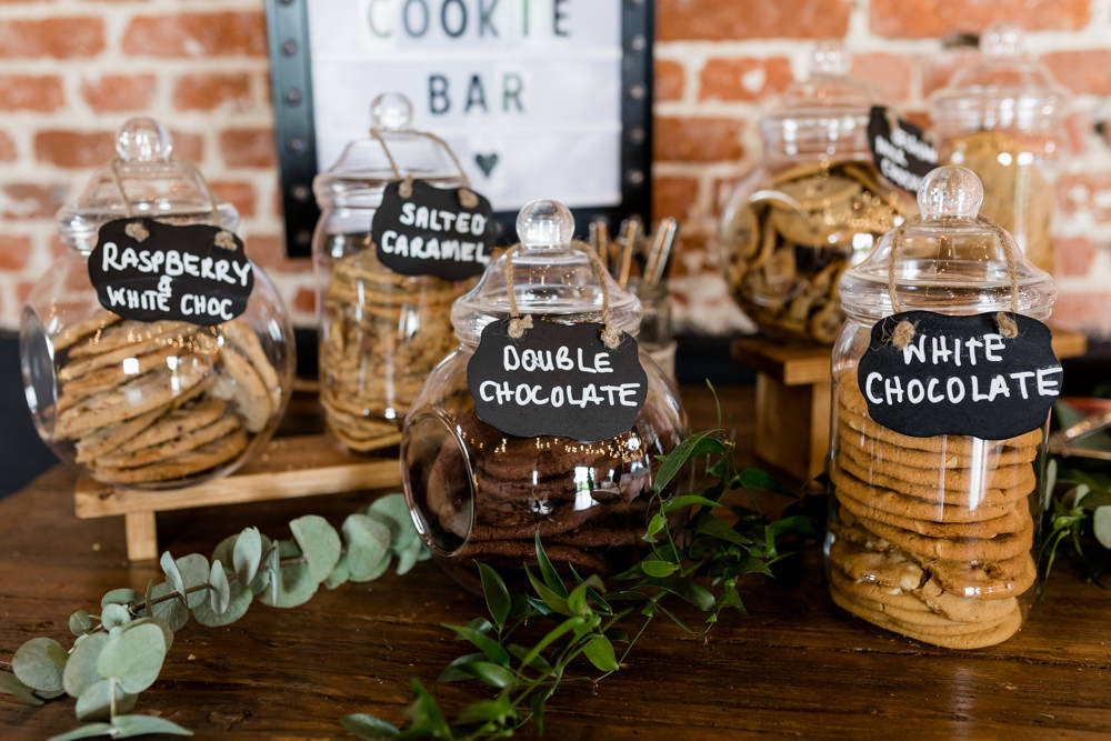 Dessert Table Cookie Jars Cookie Bar Botanical Barn Wedding Heather Jackson Photography