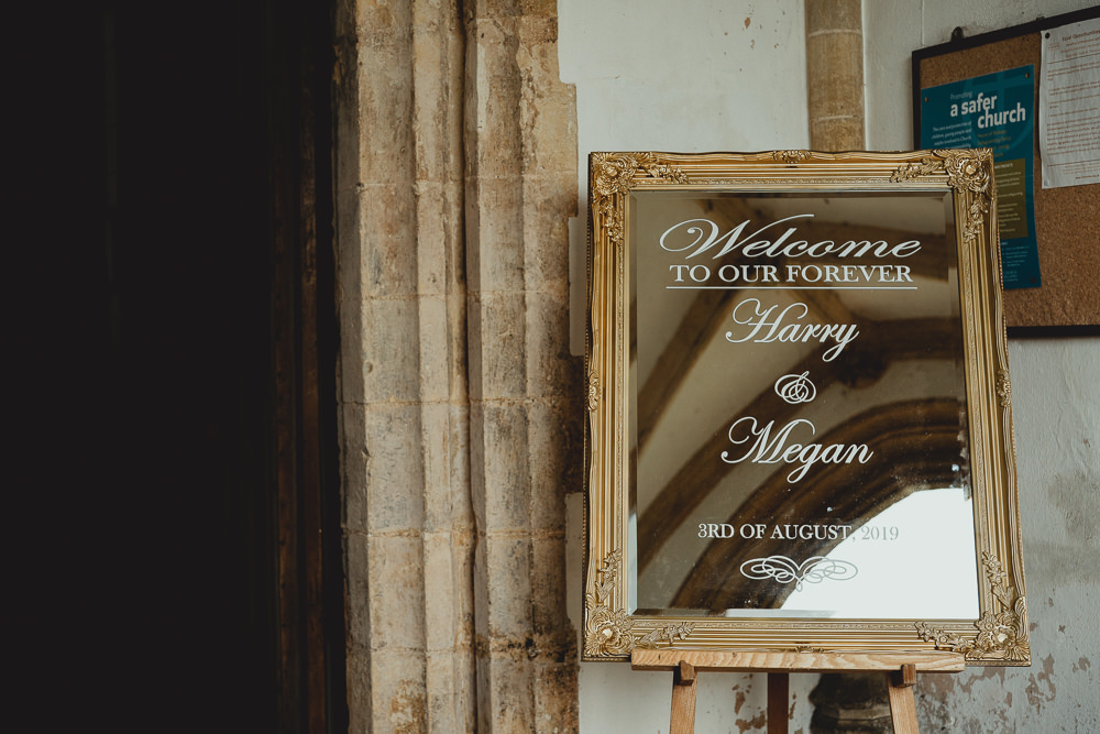 Mirror Gold Frame Welcome Sign British Countryside Wedding Georgia Rachael Photography
