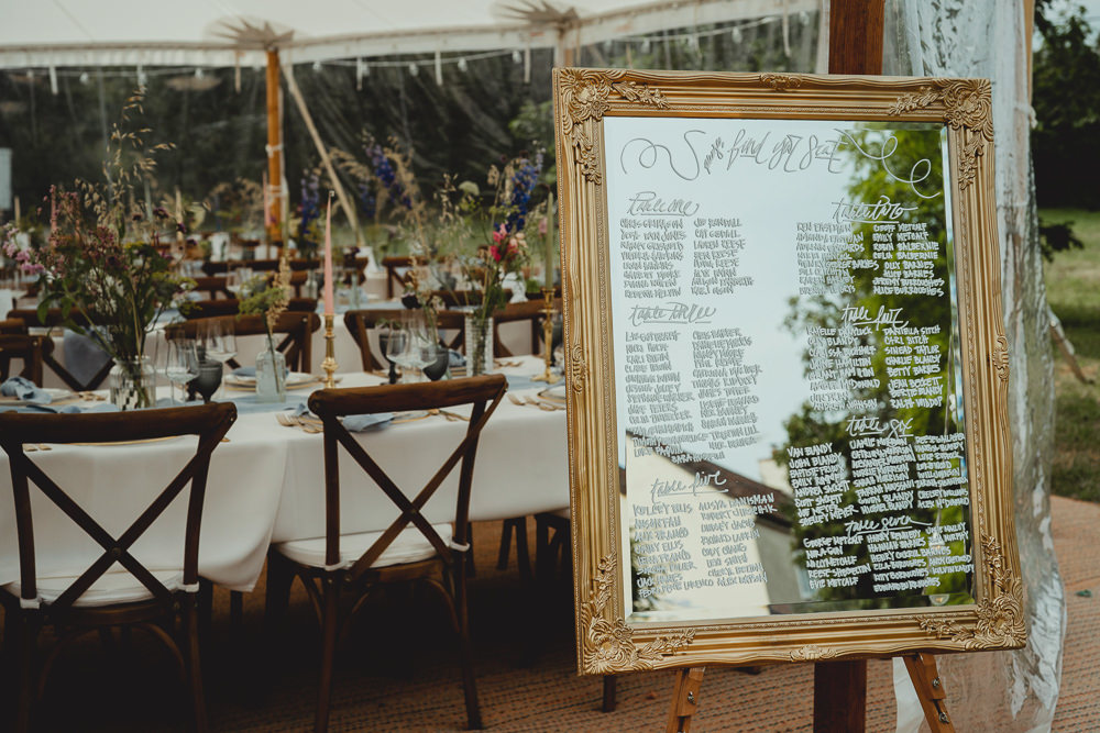 Mirror Gold Frame Table Plan British Countryside Wedding Georgia Rachael Photography