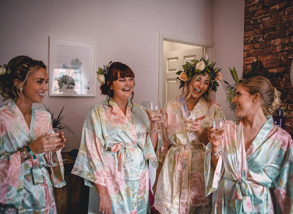 Bride Bridal Bridesmaids Robe Gown Floral Crowns DIY Bohemian Wedding Love & Bloom Photography