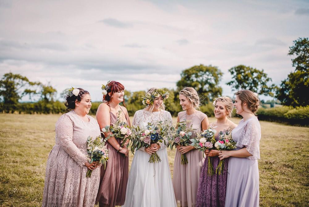 Bride Bridal Lace Long Sleeve Sweetheart Separates Pink Mauve Mismatched Bridesmaids Flower Crown Veil DIY Bohemian Wedding Love & Bloom Photography