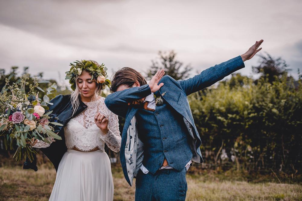 Bride Bridal Lace Long Sleeve Sweetheart Separates Blue Herringbone Tweed Suit Groom Flower Crown Veil Wild Loose Bouquet Leather Jacket DIY Bohemian Wedding Love & Bloom Photography