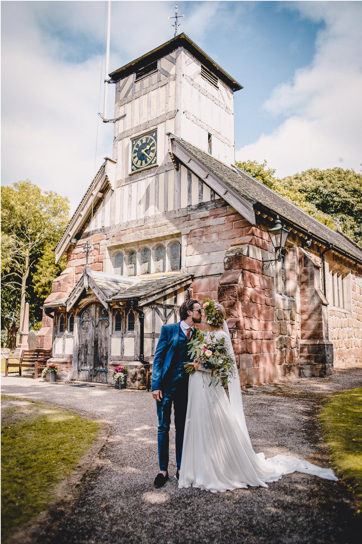 Bride Bridal Lace Long Sleeve Sweetheart Separates Blue Herringbone Tweed Suit Groom Flower Crown Veil Wildflower Bouquet DIY Bohemian Wedding Love & Bloom Photography