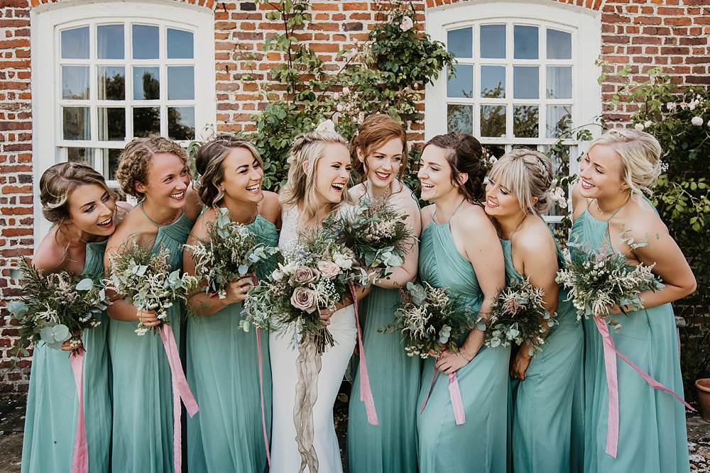 Bridesmaids Bridesmaid Dress Dresses Sage Green Bouquets Greenery Foliage Ribbons Eggington House Wedding October Willis Photography