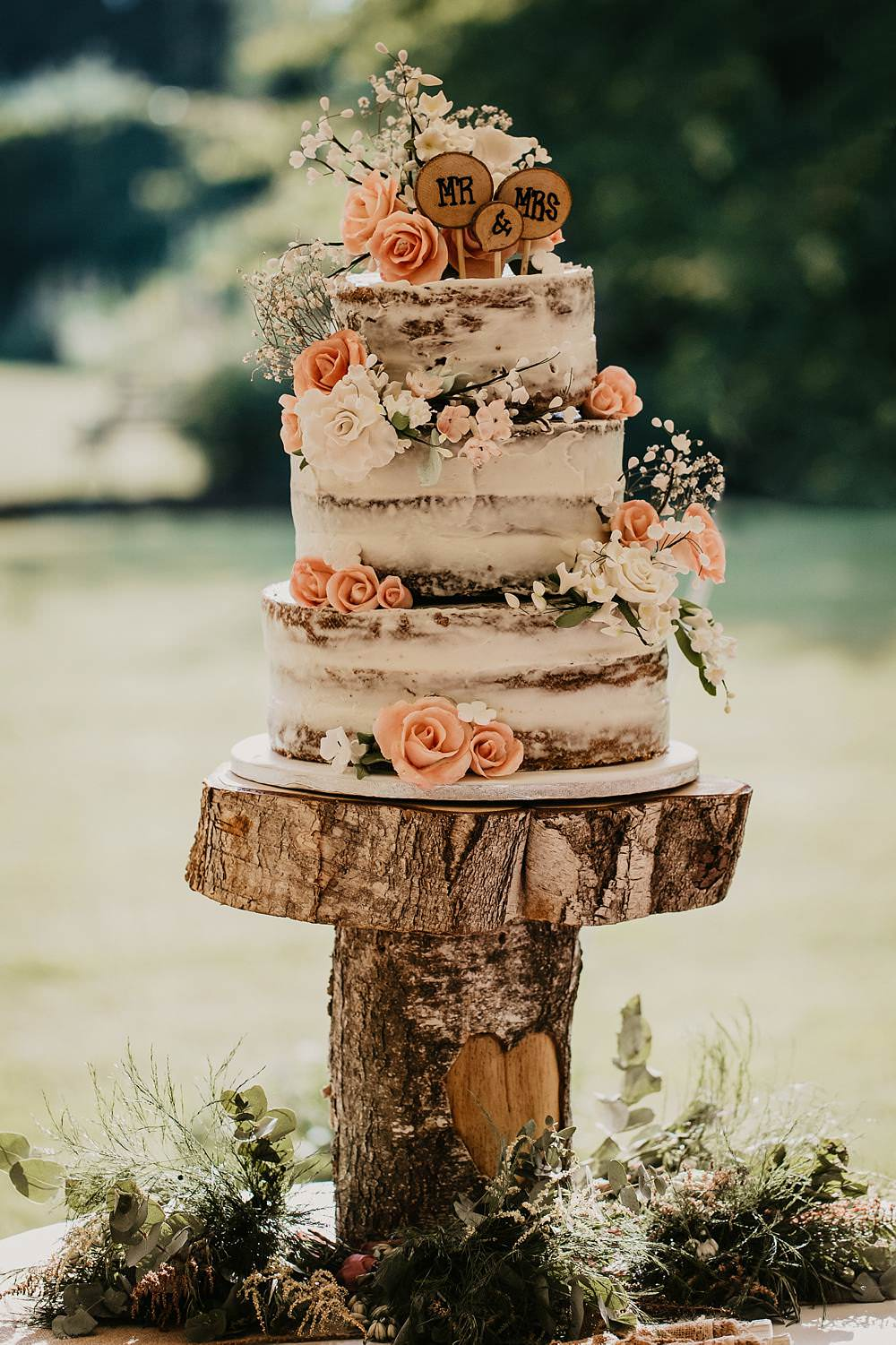 Semi Naked Cake Flowers Rustic Wooden Log Stand Eggington House Wedding October Willis Photography