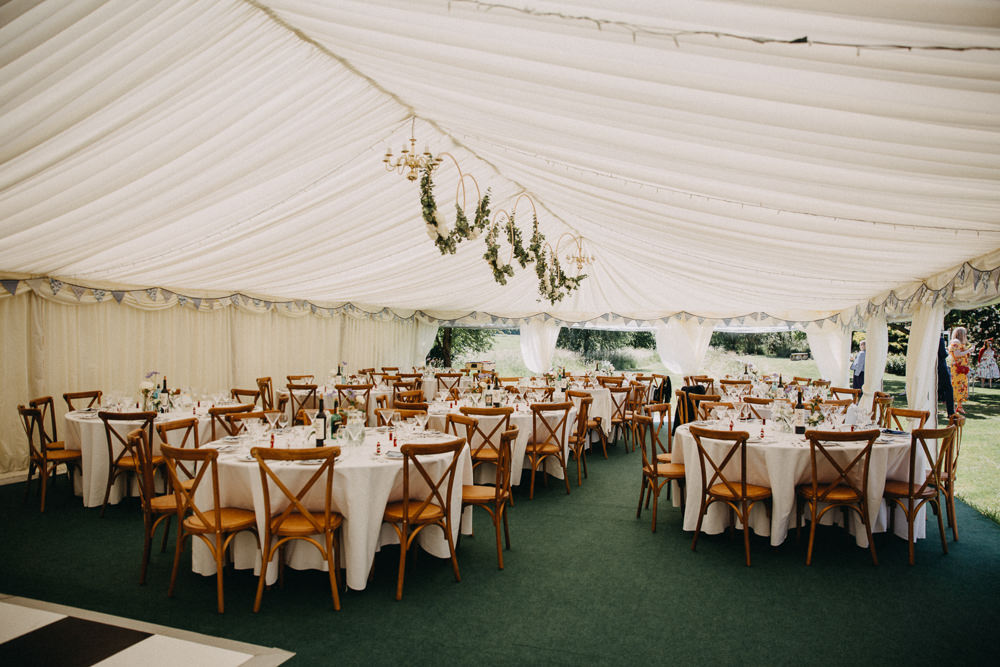 Marquee Floral Greenery Foliage Hoop Ceiling Suspended Hanging Horsebridge Station Wedding Emily Grace Photography