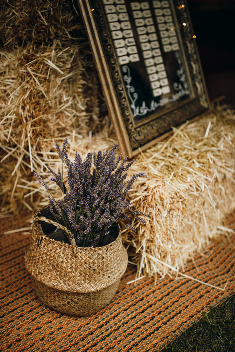 Belly Basket Flowers Lavender Horsley Hale Farm Wedding Thyme Lane Photography